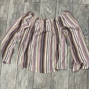 Striped blouse bell sleeve